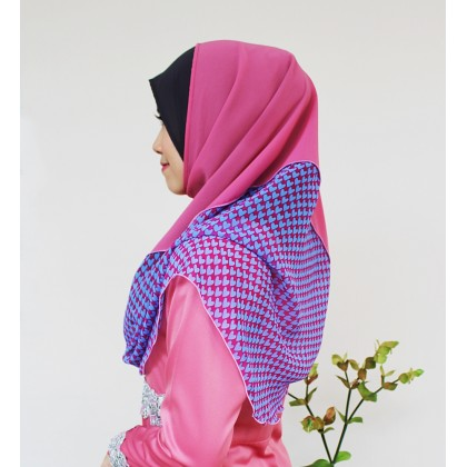 Erena Instant Shawl Dusty Pink with Hearts Print