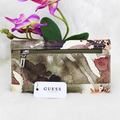 Guess Abree Slim Women Wallet Green Floral