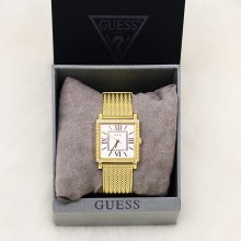 Guess U0826L2 Dressy Square Mesh Strap Women Gold Watch