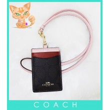 Coach F57964 Colorblock Lanyard ID Case Dark Brown/Pink Multi