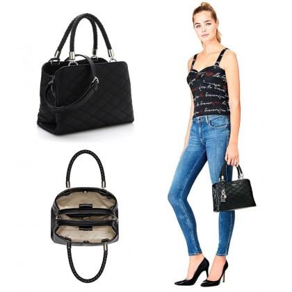 Guess Quilt Small Girlfriend Handbag Satchel Black