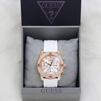 Guess U1098L5 Multifunction Crystal Women White/Rose Gold Watch