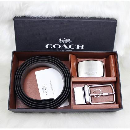 Coach F65185 Mod Plaque Harness Reversible Leather Belt Box Set