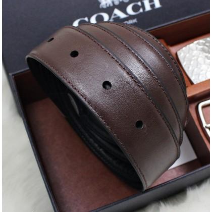 Coach F65186 Signature Plaque Harness Reversible Leather Belt Box Set