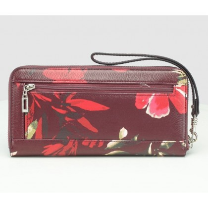 Guess Open Road Zip Around Wallet Wristlet Red Floral
