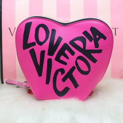 Victoria's Secret Heart Cosmetic Travel Makeup Case Red/Pink Graffiti