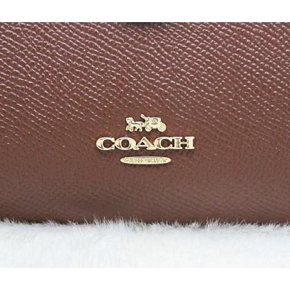 Coach F11484 Corner Zip Crossgrain Leather Medium Wallet Saddle