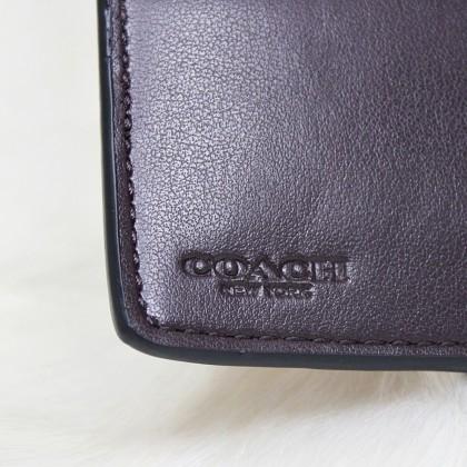 Coach F39190 Jumbo Floral Medium Corner Zip Wallet Khaki/Oxblood