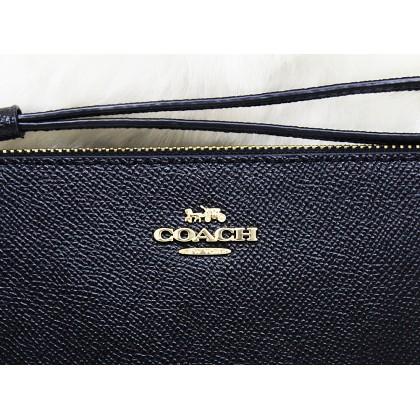 Coach F57465 Crossgrain Leather Large Wristlet Black