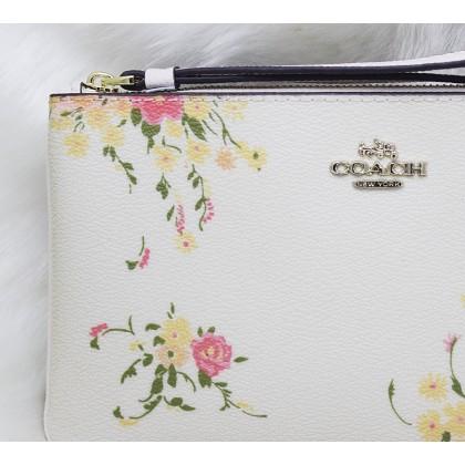Coach F30018 Floral Bundle Print Large Wristlet White