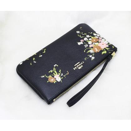 Coach F30018 Floral Bundle Print Large Wristlet Black