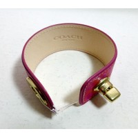 Coach Signature C Leather Turnlock Bracelet Pink