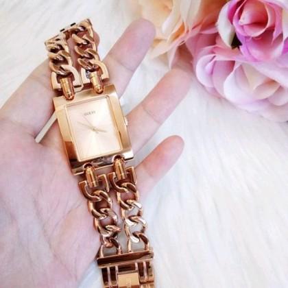 Guess U1117L3 Women Rectangle Double Chain Rose Gold Watch