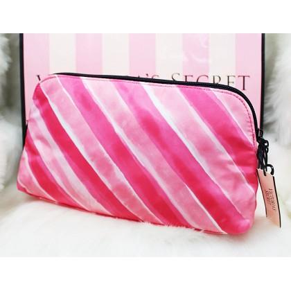 Victoria's Secret Signature Pink Stripe Cosmetic Makeup Travel Case