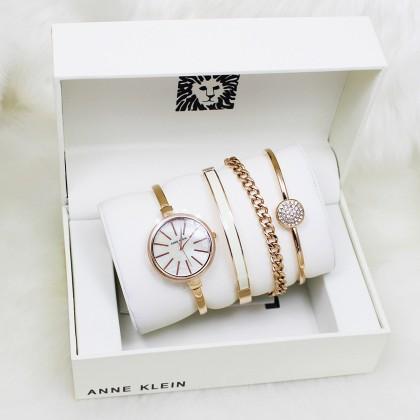 Anne Klein AK/1470 Rose Gold/White Women Watch Bangle Set