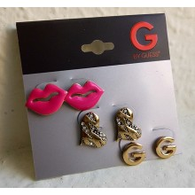 Guess Enamel Kiss Earrings Set Gold Tone