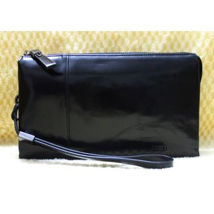Teemzone Men Smooth Leather Wrist Bag Black