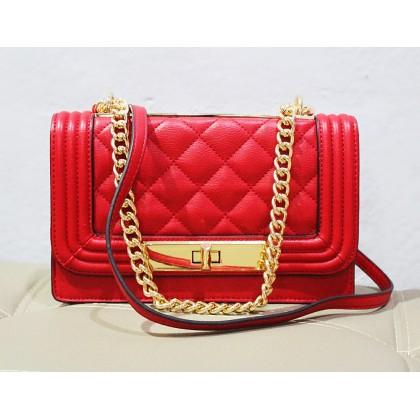 Aldo Derogali Chained Handbag Crossbody Red